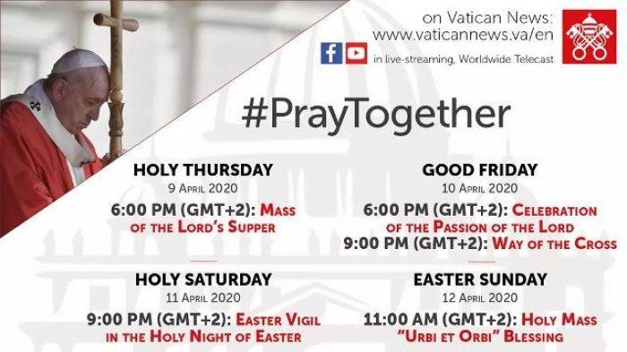 Jadwal Live Streaming Paus dan Keuskupan di Indonesia Untuk Kamis Putih, Jumat Agung dan Sabtu Suci