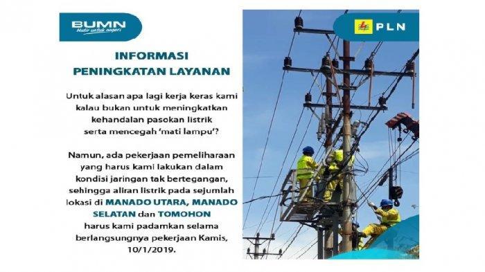 Jadwal Pemadaman Listrik di Manado & Tomohon Kamis (10/1/2019), Cek Nomor Kontak PLN di Sini!
