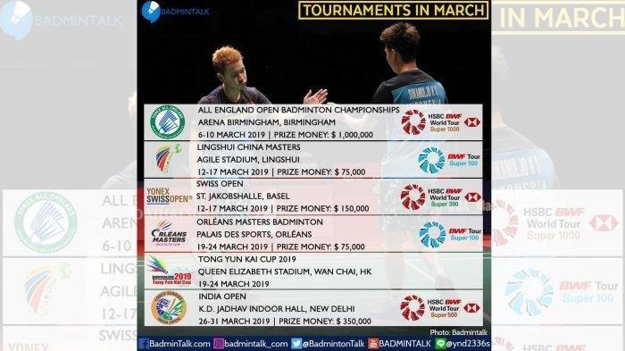 World Badminton : Inilah Jadwal Turnamen-Turnamen Yang Akan Diselenggarakan Pada Maret 2019