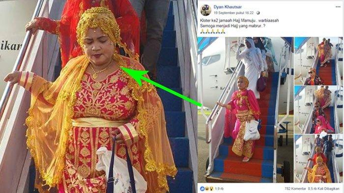 Viral Jamaah Haji Pulang dengan Pakaian Glamor di Mamuju, Dadanannya Jadi Sorotan Netizen