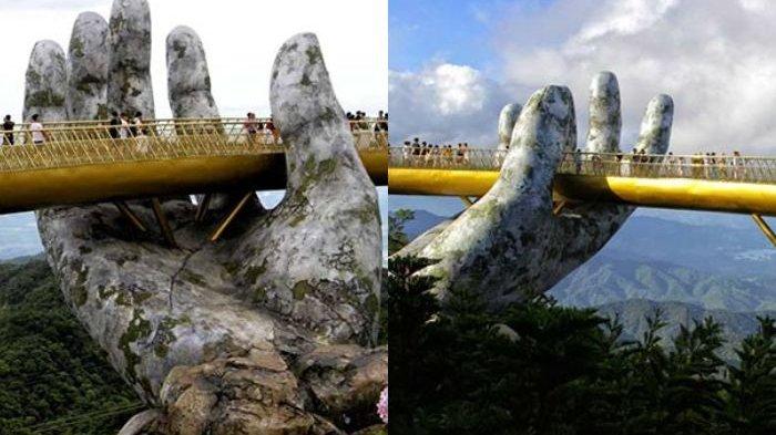Viral di Media Sosial, Jembatan Emas dengan Tangan Dewa di Vietnam, Ini Foto-fotonya