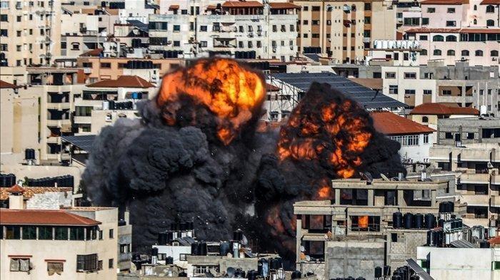 Serangan jet tempur <a href='https://manado.tribunnews.com/tag/israel' title='Israel'>Israel</a> ke Jalur <a href='https://manado.tribunnews.com/tag/gaza' title='Gaza'>Gaza</a>, <a href='https://manado.tribunnews.com/tag/palestina' title='Palestina'>Palestina</a>.