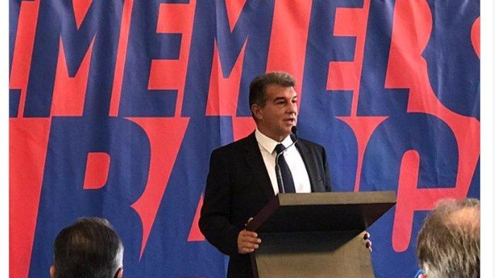 Joan Laporta saat mempresentasikan pencalonannya untuk pemilihan presiden klub Barcelona yang akan dihelat pada 24 Januari 2021.
