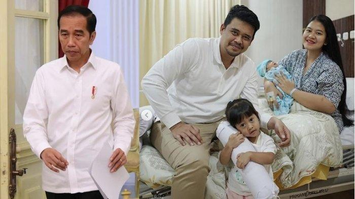 Jokowi, Bobby Nasution, Kahiyang Ayu, Sedah Mirah Nasution dan adiknya yang diberi nama Panembahan Al Nahyan Nasution