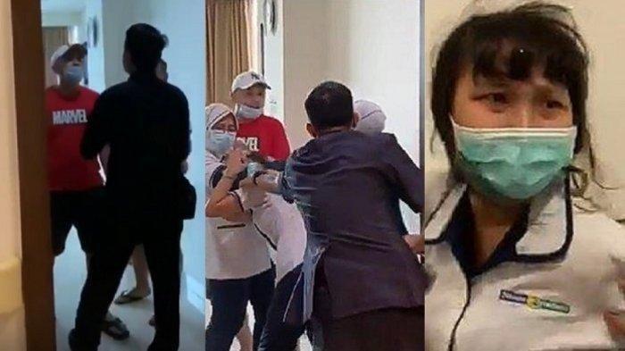 Kolase foto sosok JT, inisial seorang pria berbaju Marvel penganiaya perawat RS Siloam Sriwijaya Palembang, Christina Ramauli S merupakan anggota polisi.