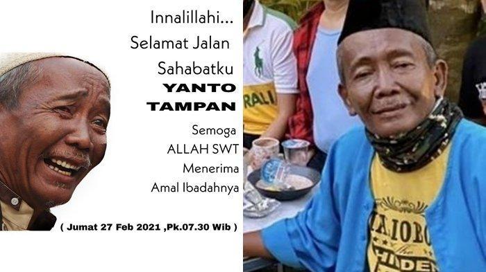Pelawak Yanto Tampan meninggal dunia