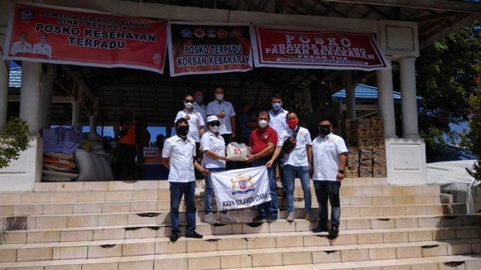 Kadin Sulut Peduli Korban Kebakaran di Pasar Tua Bitung, Bawa Bantuan 500 Kilogram Beras