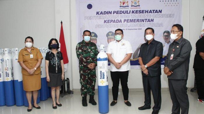 Kamar Dagang dan Industri (Kadin) Provinsi Sulawesi Utara menyalurkan bantuan tabung gas untuk penanganan pasien Covid-19 ke Pemprov Sulut