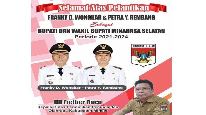 Kadisdikpora Minsel DR Fitber Raco Ucapkan Selamat Atas Pelantikan FDW-PYR