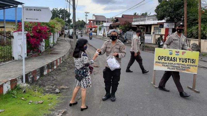 Gelar Operasi Yustisi, Polsek Touluaan Kabupaten Mitra Jaring Pelanggar Protokol Covid-19