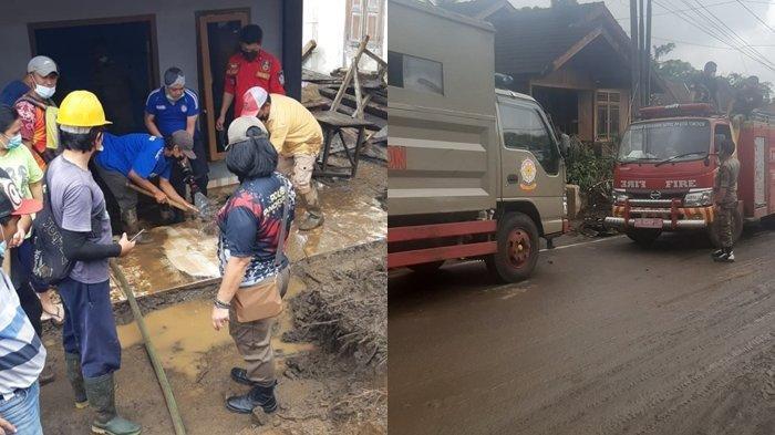 Pemkot Tomohon Bantu Warga di Desa Pangu, Minahasa Tenggara, Lakukan Pembersihan Material Banjir