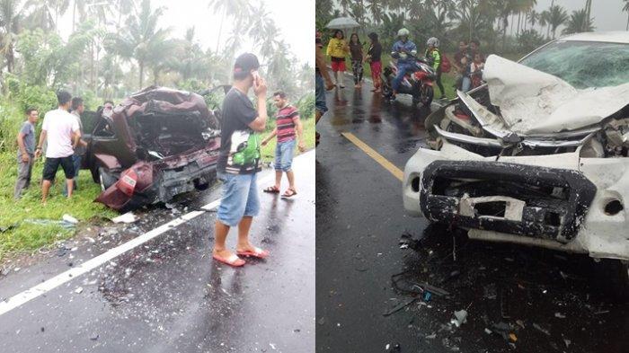 BREAKING NEWS Kecelakaan Maut di Poigar Tewaskan PendetaImelda Lumetu, Mobil Livina Berputar-putar