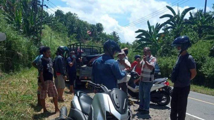 Kecelakaan Lalu Lintas, Pengendara Sepeda Motor Tersungkur di Jalan Trans Sulawesi Desa Teep Minsel