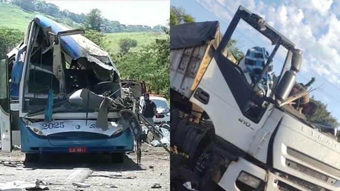 Bangkai bus dan truk usai saling bertabrakan