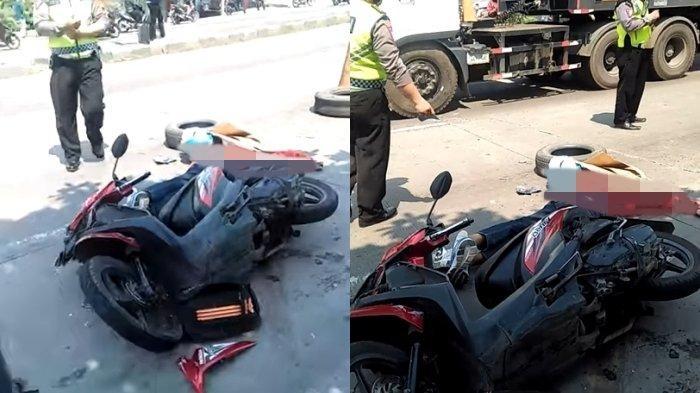 Kecelakaan Maut Pukul 11.00 WIB, Seorang Pemotor Tewas, Korban Tabrak Angkot lalu Dihantam Truk