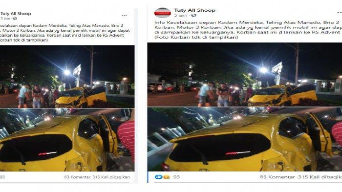 kecelakaan maut di Manado, postingan akun Facebook Tuty All Shoop