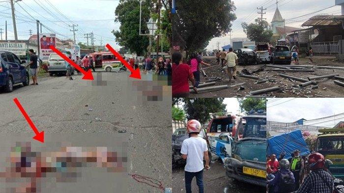 Potret kecelakaan beruntun di Siantar, Simalungun, Kamis (19/11/2020) (Alija/TribunMedan)