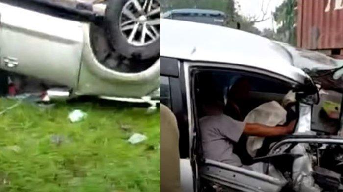 Kecelakaan Mobil Avanza Vs Fortuner Bertabrakan Hingga Kendaraan Terbalik di Kota Tebingtinggi