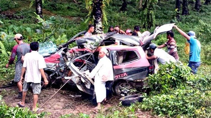 Kecelakaan Maut Pukul 09.00 WIB, 5 Orang Tewas, Mobil Livina Hilang Kendali Lalu Tabrak Pohon Sawit