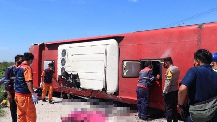 Kecelakaan Maut, 21 Orang Jadi Korban, Bus Oleng Lalu Terguling Usai Hindari Truk Boks