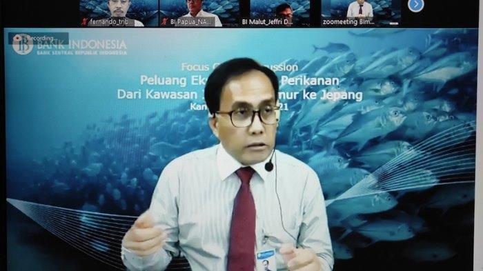 Kepala PerwakilanBI Sulut, Arbonas Hutabarat berbicara dalam FGD Peluang Ekspor Komoditas Perikanan dari Kawasan Timur Indonesia (KTI) ke Jepang yang berlangsung via Zoom Meeting, Kamis (25/03/2021).
