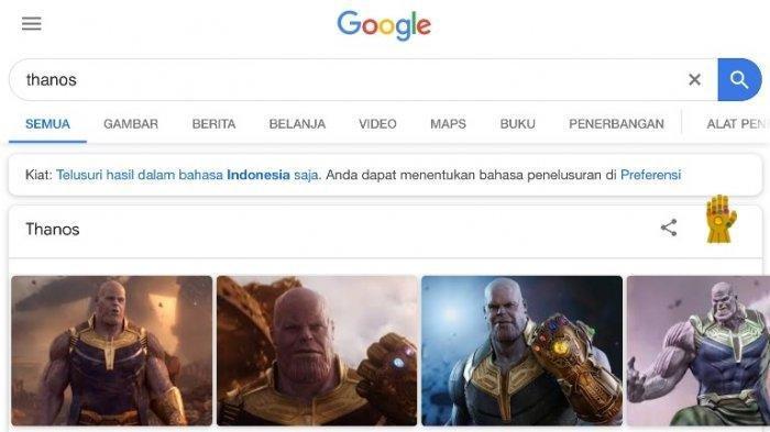 Ajaib! Ketik Nama Thanos di Kotak Pencarian Google dan Lihat Apa yang Terjadi