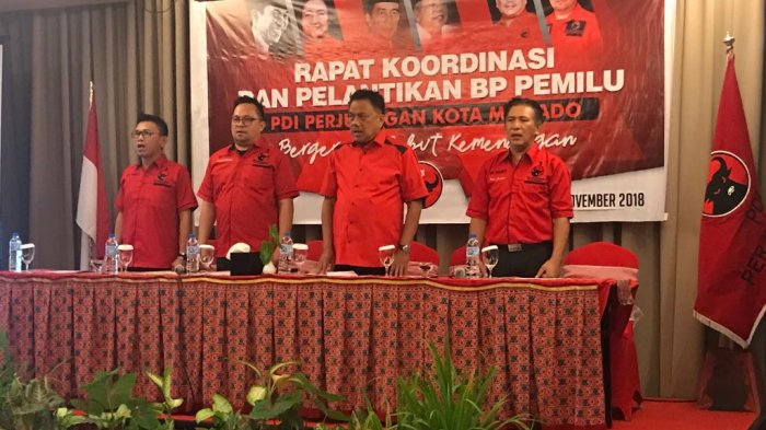 Lantik Bapilu PDIP Manado, Olly Dondokambey Target Raih 11 Kursi DPRD Manado