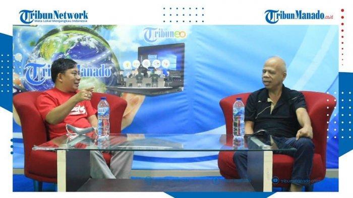 TRIBUN BAKU DAPA - Pemerhati bola, Kimmy Mamahit dan Aswin Lumintang, Jurnalis Tribun Manado