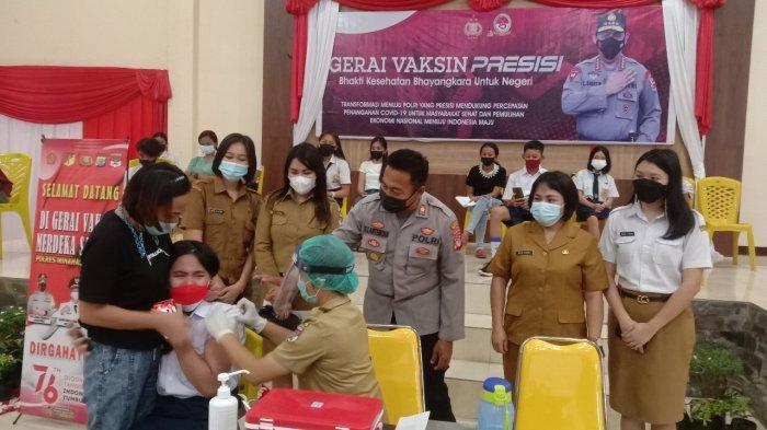Dinas Kesehatan dan Polres Kabupaten Minsel Vaksinasi Ratusan Anak dan Lansia