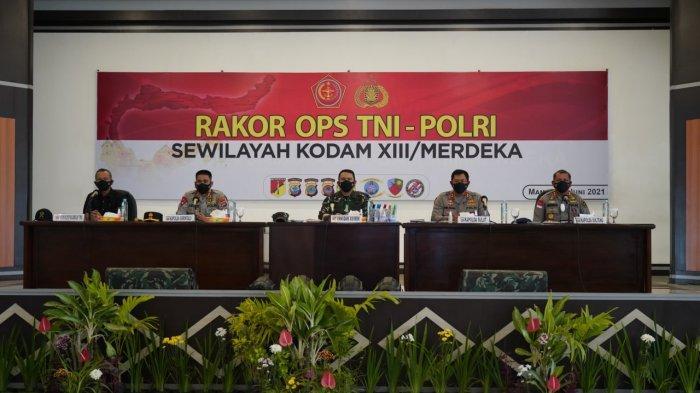 Tingkatkan Sinergitas TNI Polri, Kodam Merdeka Gelar Rakor Ops Pengamanan Suluttenggo