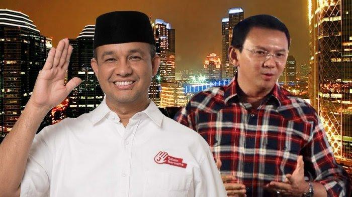 Kolase foto Anies Baswedan dan Ahok. Berlatarbelakang Kota Jakarta.