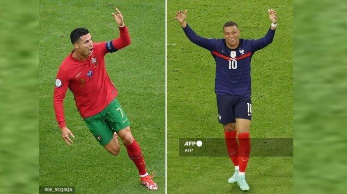 Kolase Foto Cristiano Ronaldo dan Kylian Mbappe.