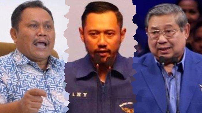 Kolase foto Jhoni Allen Marbun, AHY, dan SBY. Jhoni Allen Marbun sebut terpilihnya AHY sebagai Ketua Umum Partai Demokrat sudah didesain SBY.