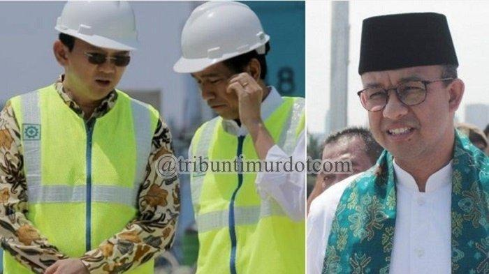 Kolase foto Jokowi-Ahok dan Anies Baswedan.