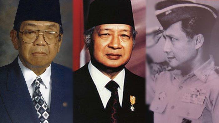 Kolase foto Presiden Soeharto, Gusdur dan Menteri Penerangan Boediardjo
