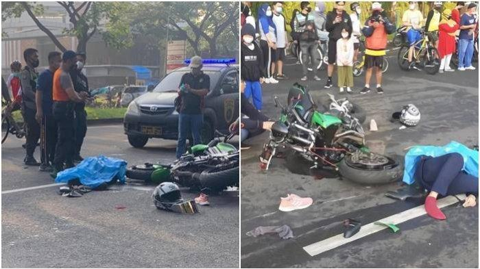 Kecelakaan Maut Pemotor Honda Beat Tertabrak Moge Kawasaki, Seorang Ibu Tewas Tergeletak di Jalan