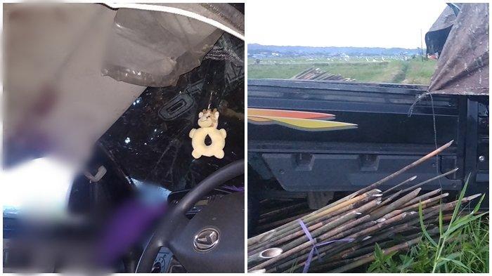 Kecelakaan Tunggal di Boelevard Tondano, Mobil Pickup Terbalik, Bambu Berserakan di Lokasi