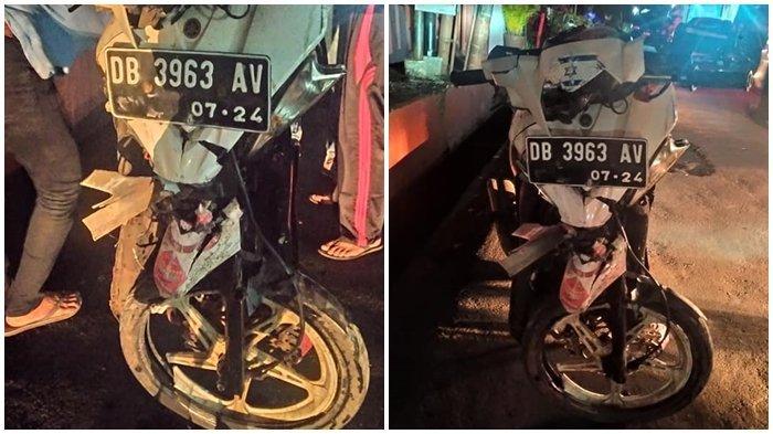 Kondisi motor yang dikendarai korban kecelakaan Maut di Kota Mando. Kecelakaan ini menyebabkan satu keluarga termasuk seorang balita meninggal dunia.