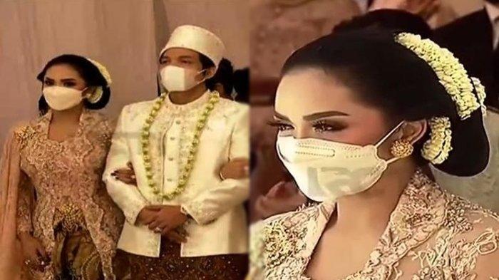 Krisdayanti saat pernikahan Aurel Hermansyah dan Atta Halilintar pada Sabtu (3/4).