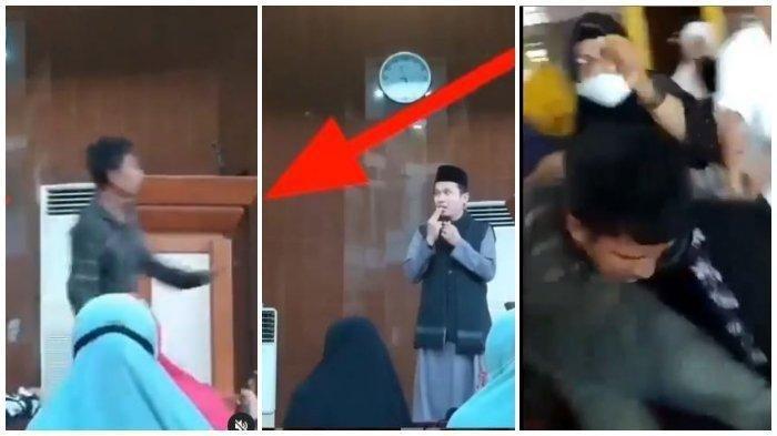 Detik-detik Pak Ustaz Abu Syahid Chaniago Diserang Pria saat Berceramah, Pelaku Diamuk Emak-emak