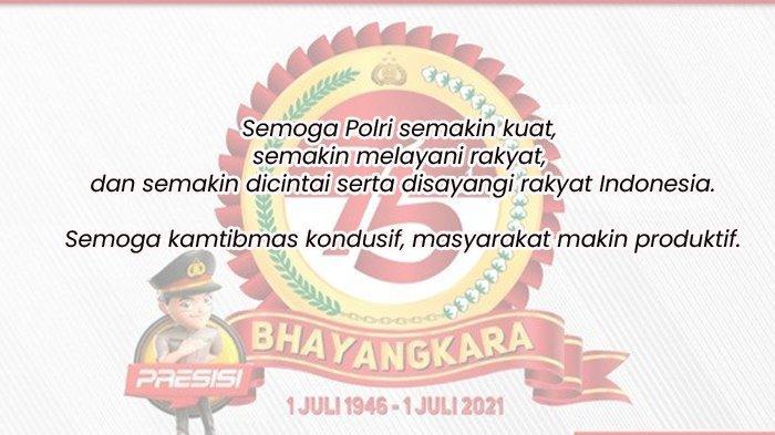 Kata-kata Mutiara Ucapan Selamat HUT ke 75 Bhayangkara, Kumpulan 50 Ucapan,Cocok Dibagikan ke Medsos