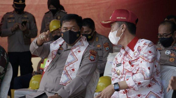 Kapolda Sulut Irjen Nana Sudjana Pantau Vaksinasi dan Peletakan Batu Pertama Mako Polres Bolsel