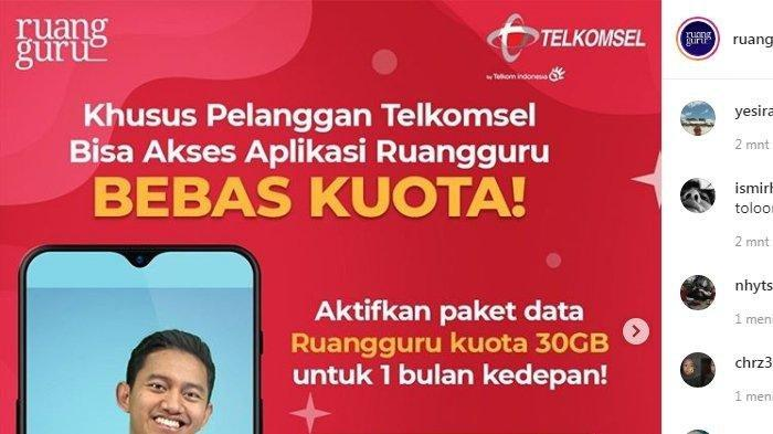Akses Ruangguru Secara Gratis Dengan Kuota 30 Gb Telkomsel Berikut Caranya Tribun Manado