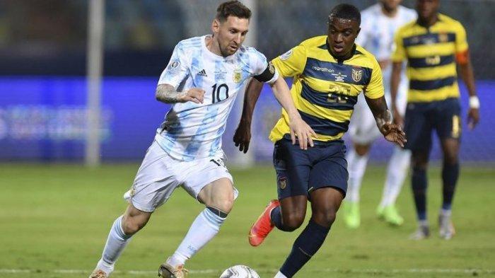 Lionel Messi dalam pertandingan Argentina vs Ekuador pada perempat final Copa America 2021, Minggu (4/7/2021) pagi WIB.