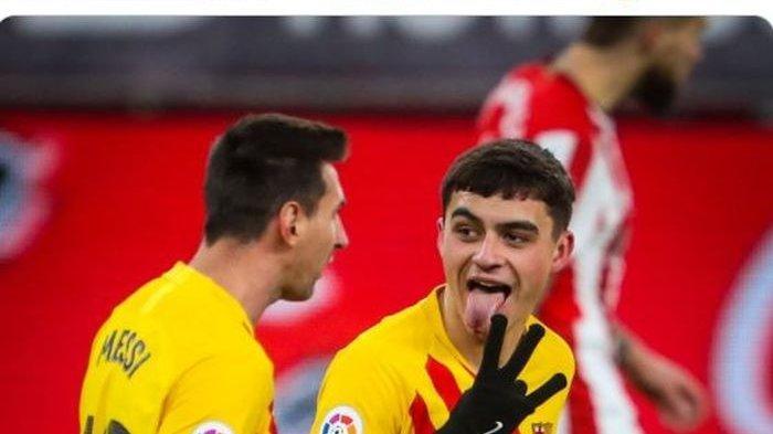 Kapten Barcelona, Lionel Messi, mencetak gol yang membuat kiper Athletic Bilbao cuma berlutut melihat bola masuk ke dalam gawang.