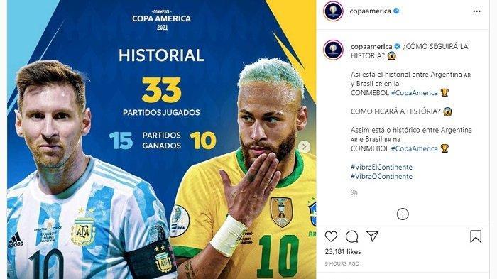 Live Streaming Final Copa America 2021 Argentina Vs Brazil, Saksikan Pukul 07.00 WIB