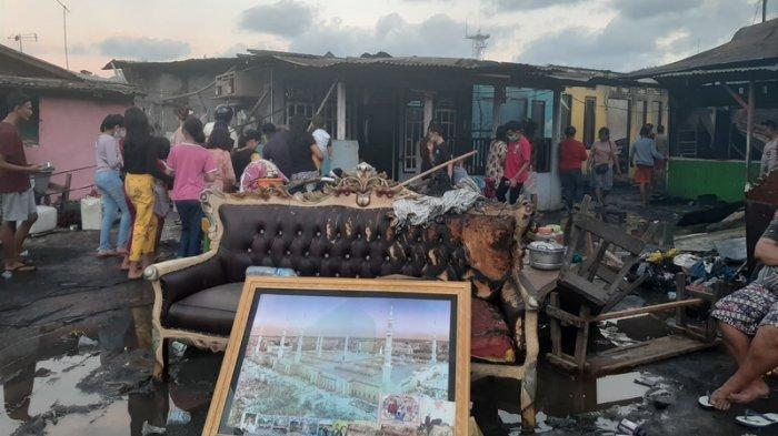 Lokasi kebakaran ratusan rumah di kompleks Pasar Tua, Kelurahan Bitung Tengah, Kecamatan Maesa, Kota Bitung, Provinsi Sulawesi Utara (Sulut) Rabu (23/06/2021).