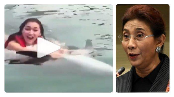 Kelakuan Lucinta Luna Tunggangi Lumba-lumba Berenang Terbalik, Tuai Kritik Susi Pudjiastuti