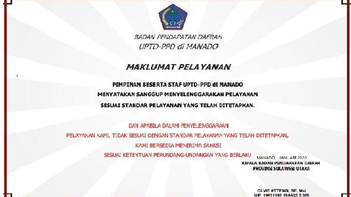 Maklumat Pelayanan Samsat Manado