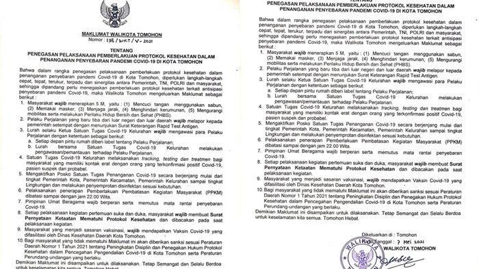 Cegah Covid-19, Wali KotaTomohon Terbitkan Maklumat, Rumah Pelaku Perjalanan Bakal Diberi Label